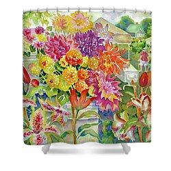 Betsy's Dahlias II Shower Curtain