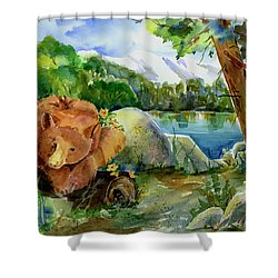 Between A Rock And Hardplace Shower Curtain