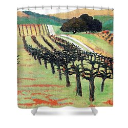 Shower Curtain featuring the painting Between Crops by Gary Coleman