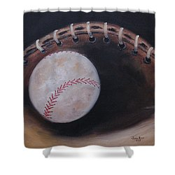 Between Innings Shower Curtain by Judith Rhue