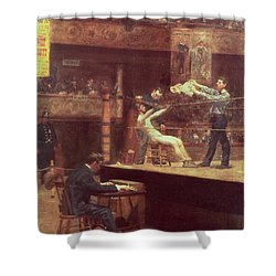 Between Rounds Shower Curtain by Thomas Cowperthwait Eakins