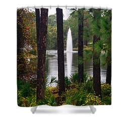 Shower Curtain featuring the photograph Between The Fountain by Lori Mellen-Pagliaro