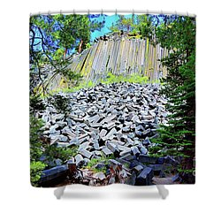 Between The Trees Devils Postpile Shower Curtain