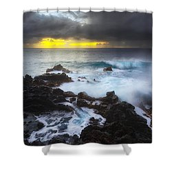 Shower Curtain featuring the photograph Between Two Storms by Ryan Manuel
