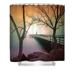 Between Two Trees Shower Curtain