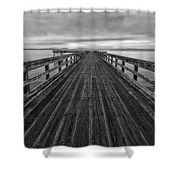 Bevan Fishing Pier - Black And White Shower Curtain