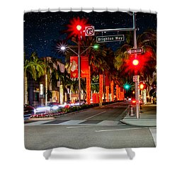Beverly Hill Stars Shower Curtain by Robert Hebert
