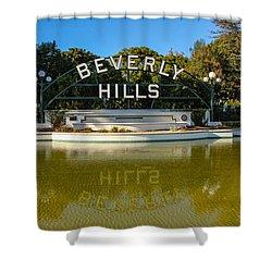 Shower Curtain featuring the photograph Beverly Hills Sign by Robert Hebert