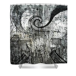 Shower Curtain featuring the digital art Beware Of Darkness by Rhonda Strickland