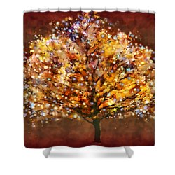 Shower Curtain featuring the painting Starry Tree by Valerie Anne Kelly