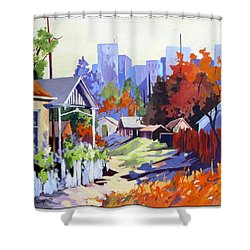 Shower Curtain featuring the painting Beyond The City Limits by Rae Andrews