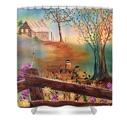 Shower Curtain featuring the painting Beyond The Gate by Denise Tomasura