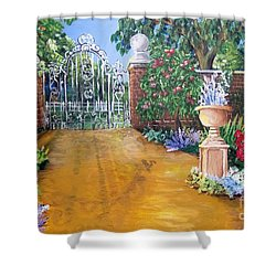 Shower Curtain featuring the painting Beyond The Gate by Saundra Johnson