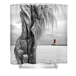 Shower Curtain featuring the photograph Beyond The Ice Reaper's Grasp -  Menominee North Pier Lighthouse by Mark J Seefeldt