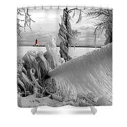 Shower Curtain featuring the photograph Beyond The Icy Gate - Menominee North Pier Lighthouse by Mark J Seefeldt