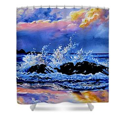 Shower Curtain featuring the painting Beyond The Rocks by Hanne Lore Koehler