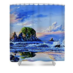 Shower Curtain featuring the painting Beyond The Shore by Hanne Lore Koehler