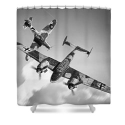 Bf-110c Zerstorer Shower Curtain by Douglas Castleman
