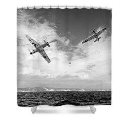 Shower Curtain featuring the photograph Bf109 Down In The Channel Bw Version by Gary Eason
