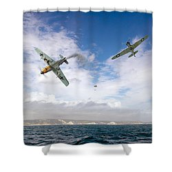 Shower Curtain featuring the photograph Bf109 Down In The Channel by Gary Eason