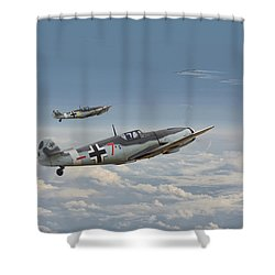 Bf109-g - Honour The Threat Shower Curtain by Pat Speirs