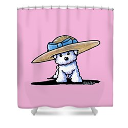 Bichon In Hat Shower Curtain