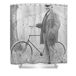 Bicycle And Jd Rockefeller Vintage Photo Art Shower Curtain by Karla Beatty