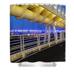 Shower Curtain featuring the photograph Bicycle And Pedestrian Overpass by Yali Shi