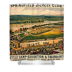Shower Curtain featuring the photograph Bicycle Camp 1883 by Padre Art