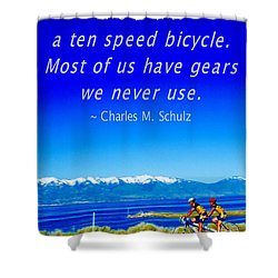 Bicycle Charles M Schulz Quote Shower Curtain