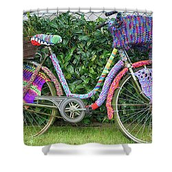 Bicycle In Knitted Sweater Shower Curtain