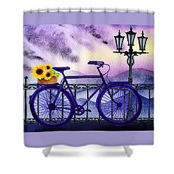Blue Bicycle And Sunflowers By Irina Sztukowski  Shower Curtain