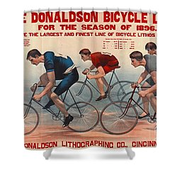 Shower Curtain featuring the photograph Bicycle Lithos Ad 1896 by Padre Art