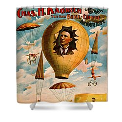 Shower Curtain featuring the photograph Bicycle Parachute Act 1896 by Padre Art