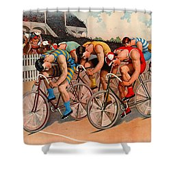 Bicycle Race 1895 Shower Curtain by Padre Art
