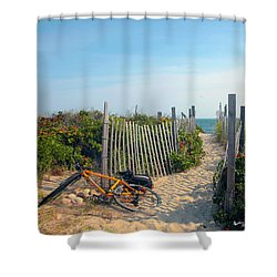 Shower Curtain featuring the photograph Bicycle Rest by Madeline Ellis