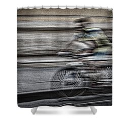 Bicycle Rider Abstract Shower Curtain