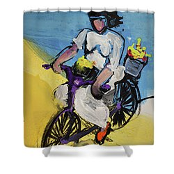 Bicycle Riding With Baskets Of Flowers Shower Curtain