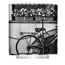 Bicycle With Flowers Shower Curtain by Silvia Ganora