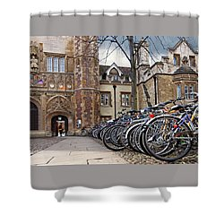 Bicycles At Trinity College Cambridge Shower Curtain by Gill Billington