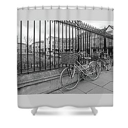 Shower Curtain featuring the photograph Bicycles On Magdalene Bridge Cambridge In Black And White by Gill Billington