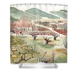 Bicycling Through Vineyards Shower Curtain