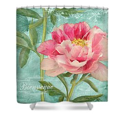 Bienvenue - Peony Garden Shower Curtain