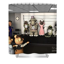 Big Bad Wolf Lineup Shower Curtain by Methune Hively