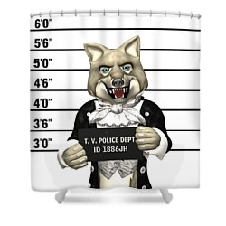 Shower Curtain featuring the digital art Big Bad Wolf Mugshot by Methune Hively