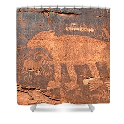 Big Bear Petroglyph Shower Curtain by David Lee Thompson