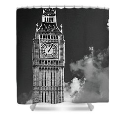 Big Ben And Clouds Bw Shower Curtain