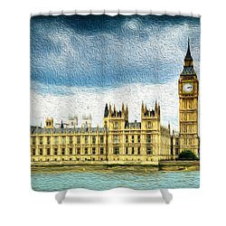 Big Ben And Houses Of Parliament With Thames River Shower Curtain