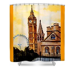 Big Ben And London Eye - Art By Dora Hathazi Mendes Shower Curtain by Dora Hathazi Mendes