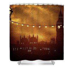 Shower Curtain featuring the digital art Big Ben At Night by Fine Art By Andrew David